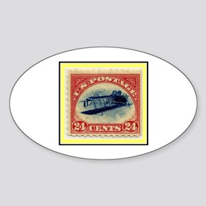 """1918 Inverted Jenny Stamp"" Oval Sticker"