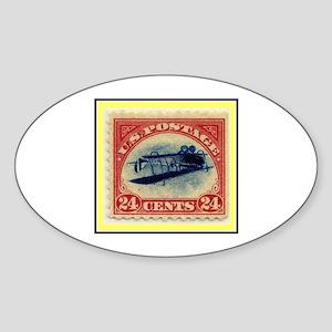 """""""1918 Inverted Jenny Stamp"""" Oval Sticker"""