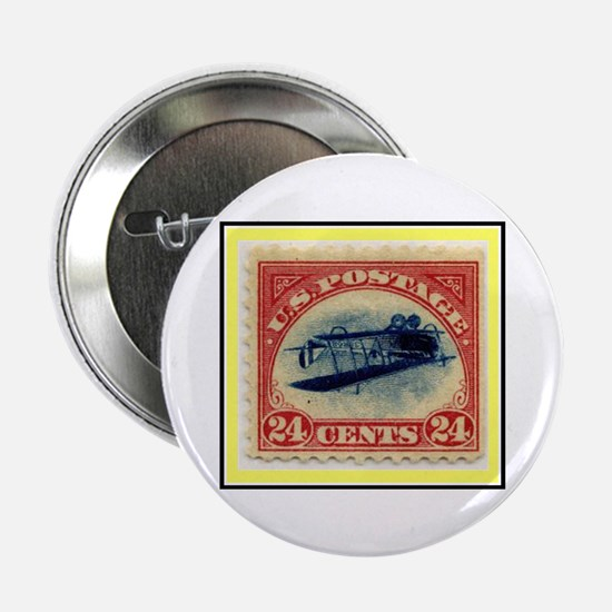 """""""1918 Inverted Jenny Stamp"""" 2.25"""" Button"""