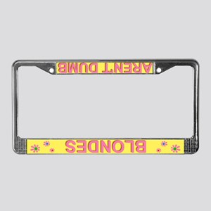 'Blondes Aren't Dumb' Yellow License Plate Frame
