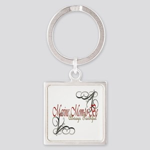 Swirl Marine Mom-To-Be Square Keychain Keychains