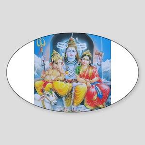 Shiva Parvati Ganesh ji Oval Sticker