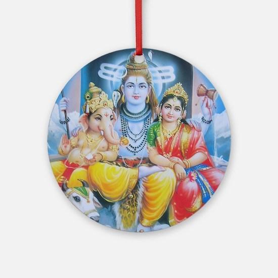Shiva Parvati Ganesh ji Ornament (Round)