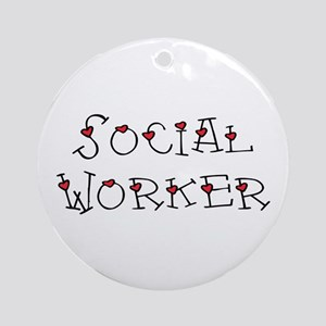 Social Worker Hearts Ornament (Round)
