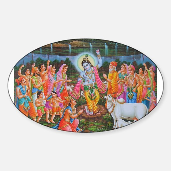 Krishna Govardhana Oval Decal