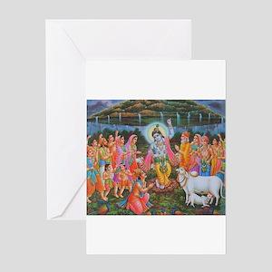 Krishna Govardhana Greeting Card