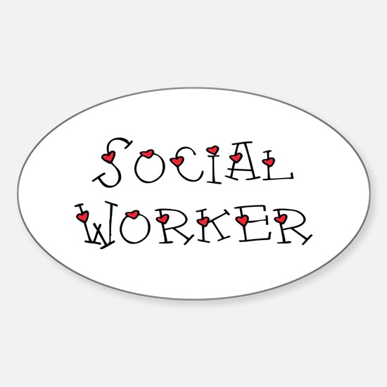 Social Worker Hearts Oval Decal