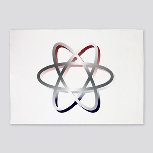 Atomic Symbol Red, White and Blue 5'x7'Area Rug