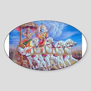 Krishna Arjuna Oval Sticker