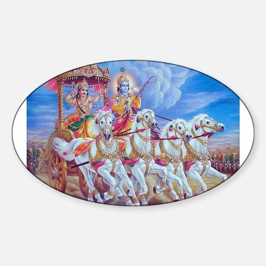 Krishna Arjuna Oval Decal