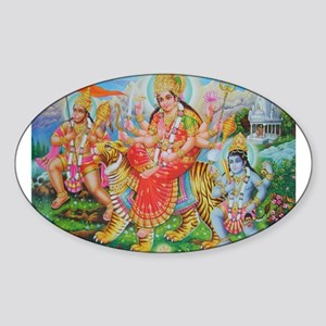 Durga Mata Oval Sticker