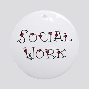 Social Work Hearts (Design 2) Ornament (Round)