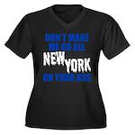New York Baseball Women's Plus Size V-Neck Dark T-