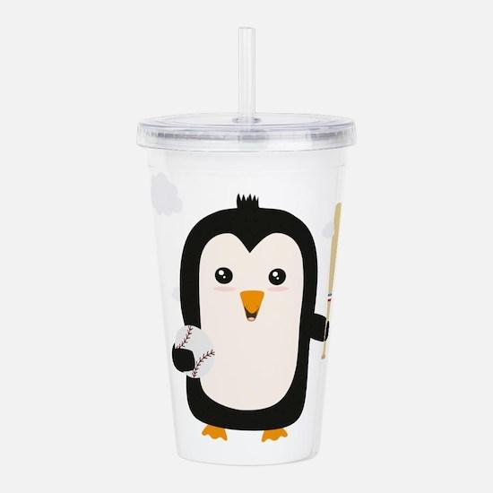 Penguin Baseball Playe Acrylic Double-wall Tumbler