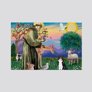 St Francis / (B&W) Cat Rectangle Magnet