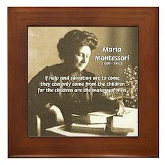 Maria Montessori Education Framed Tile