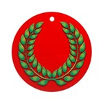 Green on red laurel Ornament (Round)