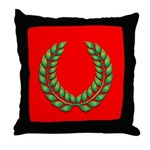 Green on red laurel Throw Pillow