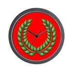 Green on red laurel Wall Clock