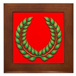 Green on red laurel Framed Tile