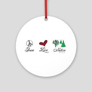 oddFrogg Peace Love Nature Ornament (Round)