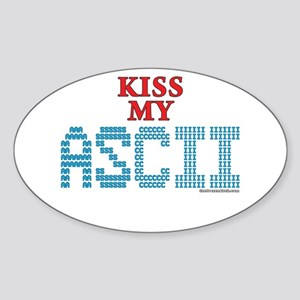 Kiss My Ascii Oval Sticker