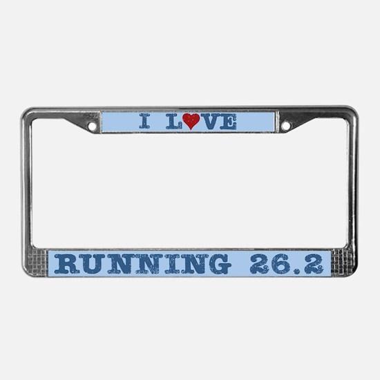 I Love Running 26.2 Marathons License Plate Frame