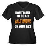 Baltimore Baseball Women's Plus Size V-Neck Dark T