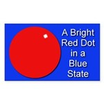 Red Dot/Blue State Rectangle Sticker