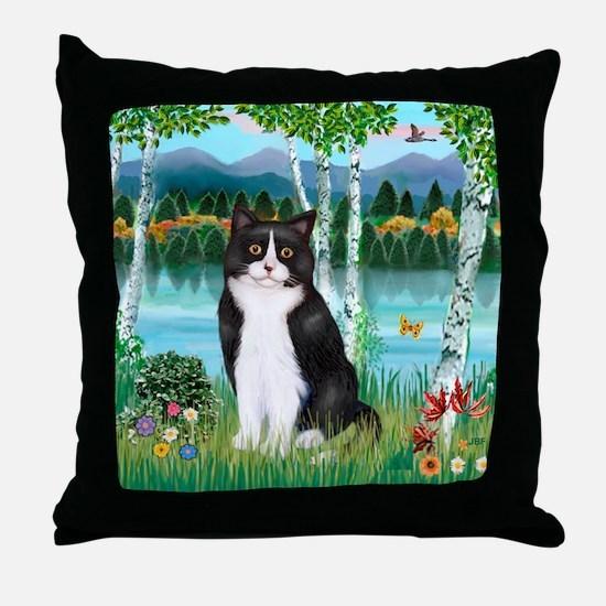 Birches / (B&W) Cat Throw Pillow