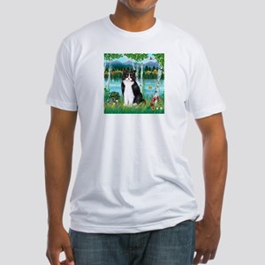 Birches / (B&W) Cat Fitted T-Shirt