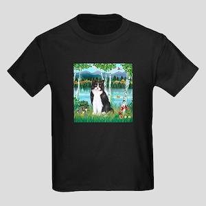 Birches / (B&W) Cat Kids Dark T-Shirt