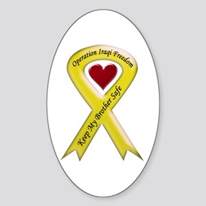 Military Brother Yellow Ribbo Oval Sticker