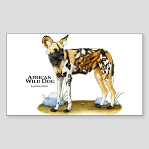 African Wild Dog Rectangle Sticker