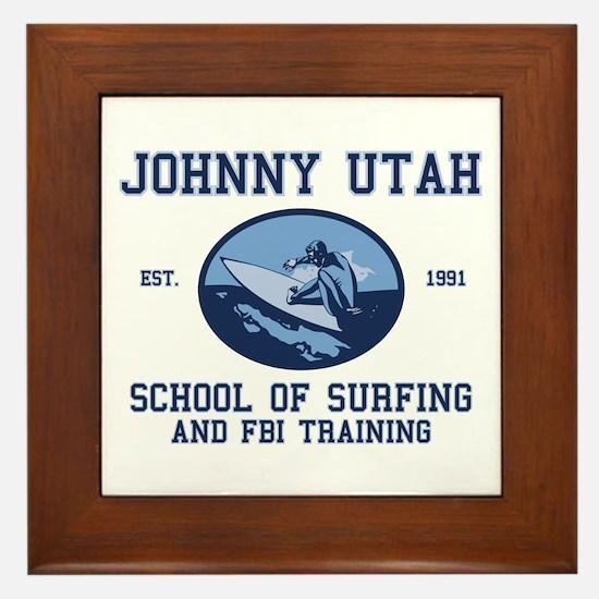 johnny utah surfing school Framed Tile