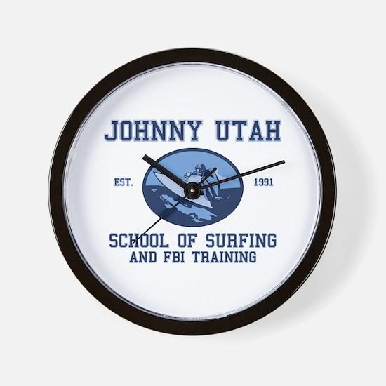 johnny utah surfing school Wall Clock