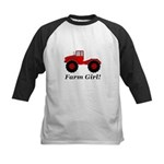 Farm Girl Tractor Kids Baseball Tee