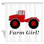 Farm Girl Tractor Shower Curtain