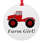 Farm Girl Tractor Round Ornament