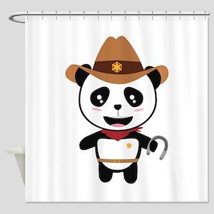 Panda Cowboy with horseshoe Ctao7 Shower Curtain
