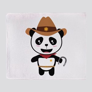 Panda Cowboy with horseshoe Ctao7 Throw Blanket