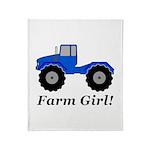 Farm Girl Tractor Throw Blanket