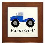 Farm Girl Tractor Framed Tile