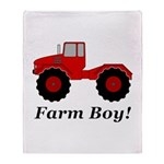 Farm Boy Tractor Throw Blanket