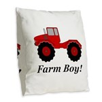 Farm Boy Tractor Burlap Throw Pillow