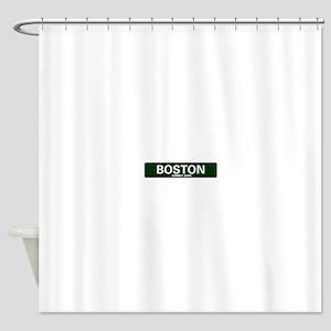 USA STREET SIGN - BOSTON - COMBAT Z Shower Curtain