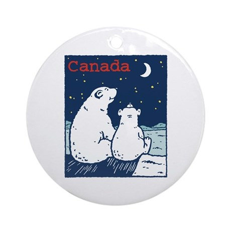 Canada Polar Bear Ornament (Round)