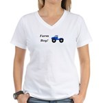Farm Boy Tractor Women's V-Neck T-Shirt