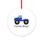 Farm Boy Tractor Round Ornament