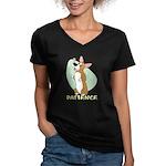 Corgi Begging Women's V-Neck Dark T-Shirt